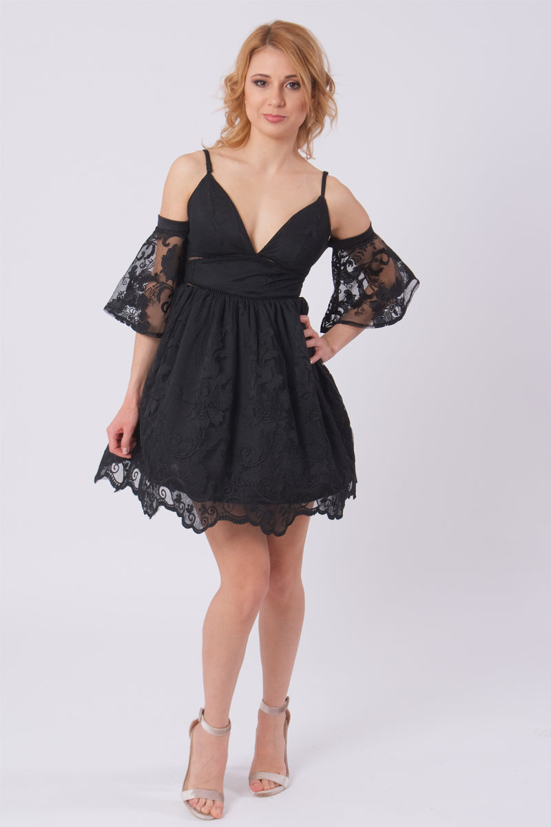 Off Shoulder Lace Dress-Dresses-Secret Closet