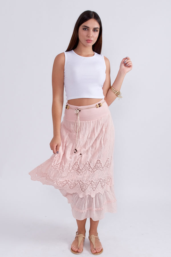 Lace Detailed Cotton Maxi Skirt-Skirts-Secret Closet