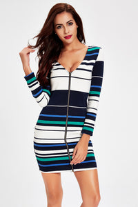 Zipper Up Striped Dress-Dresses-Secret Closet