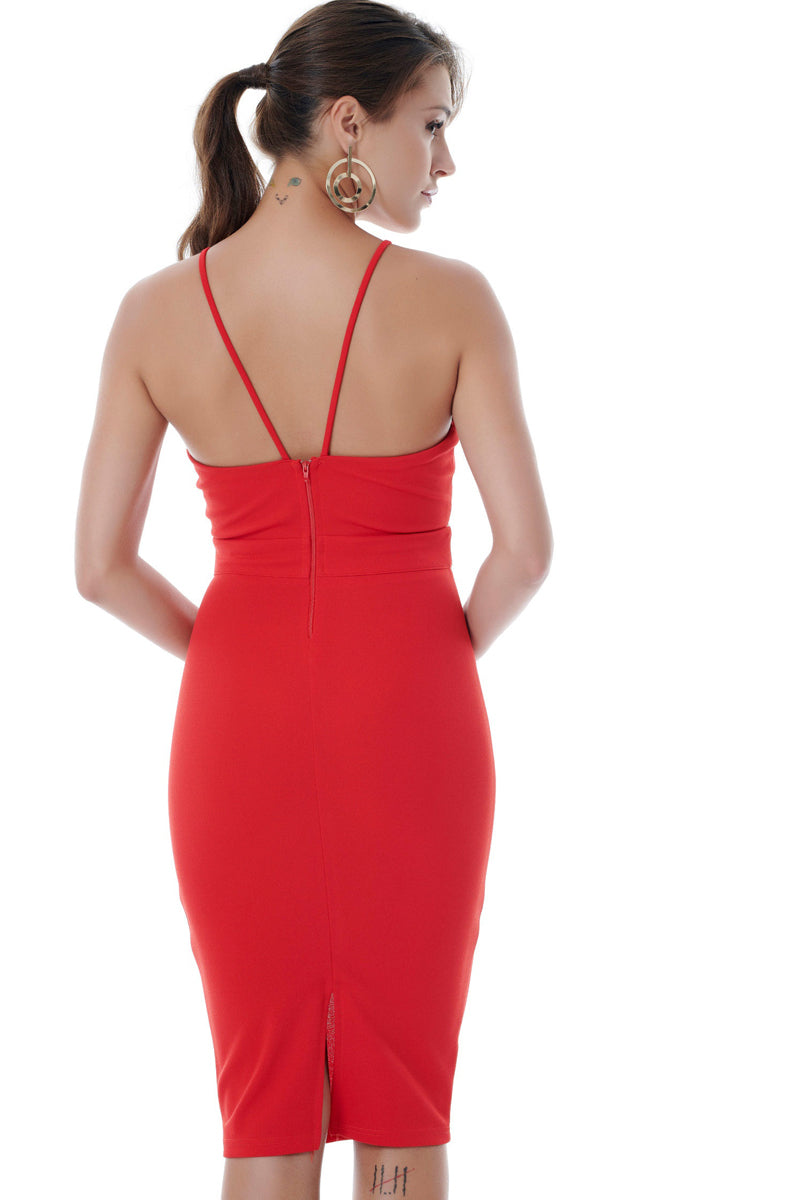 Classy and Sexy Red Bodycon Dress-Dress-Secret Closet