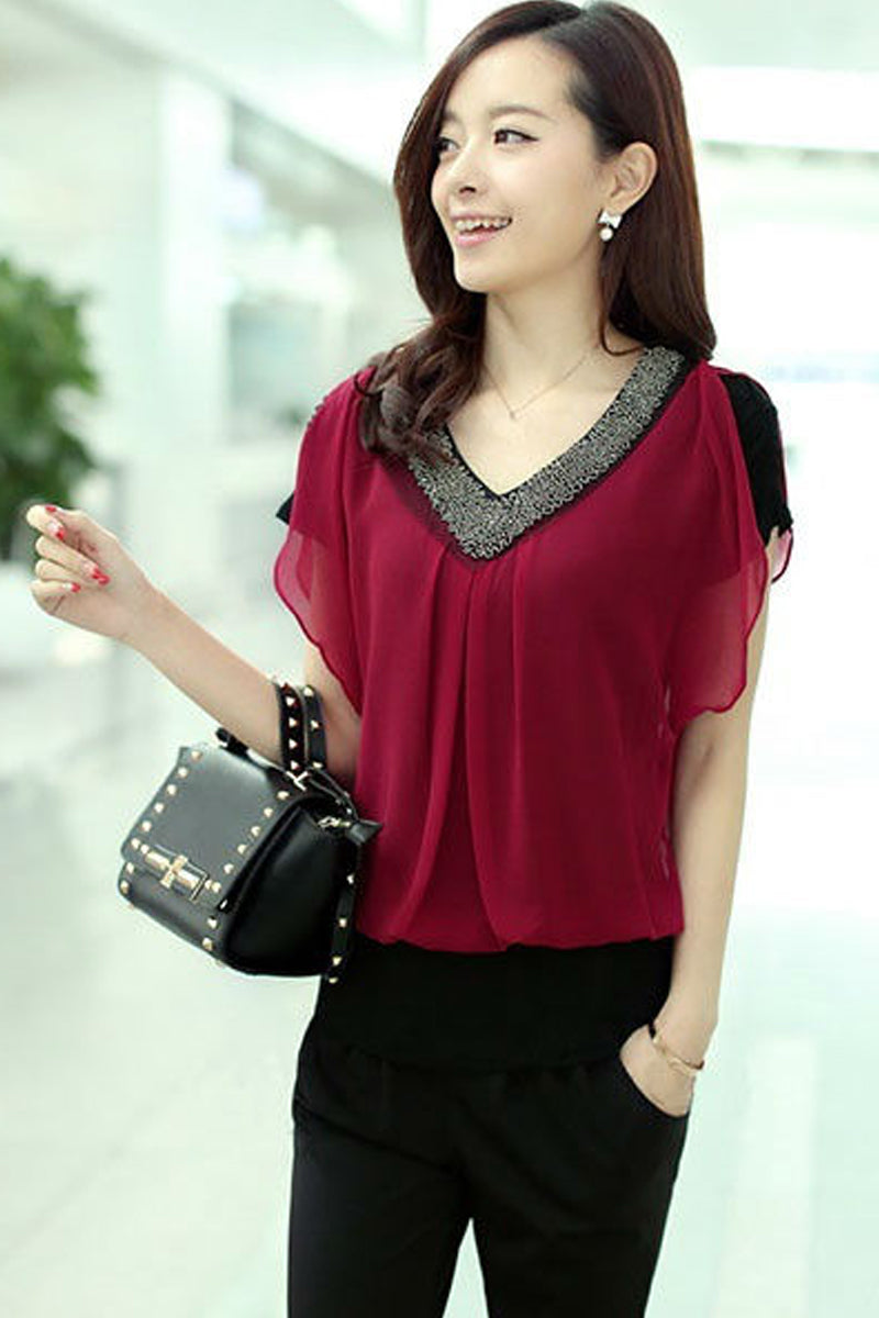 Short Sleeve V Neck Chiffon T-Shirt-Tops-Secret Closet