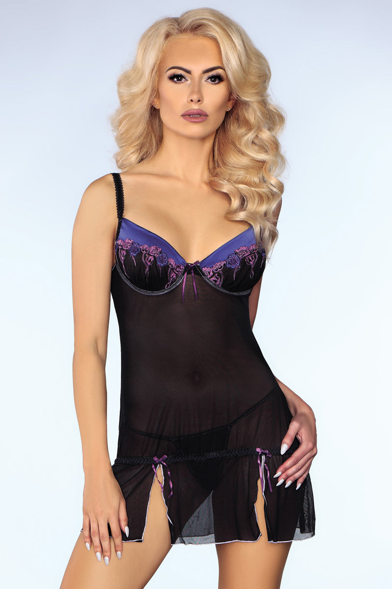 Ebony - Chemise Decorated With Flowery Patterns-Chemises-Secret Closet