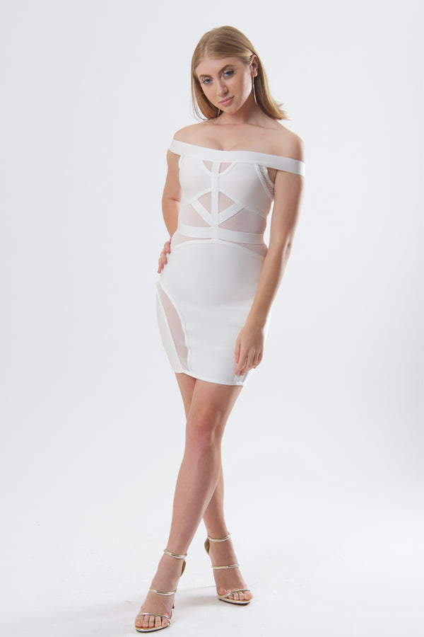 Sexy Off Shoulder Mesh Panel Bandage Dress-Dresses-Secret Closet