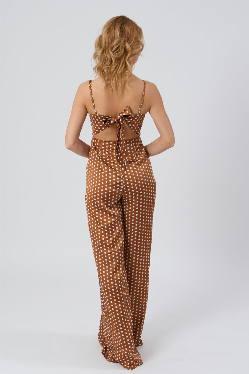 Polka Dot Tie Back Jumpsuit-Jumpsuits-Secret Closet