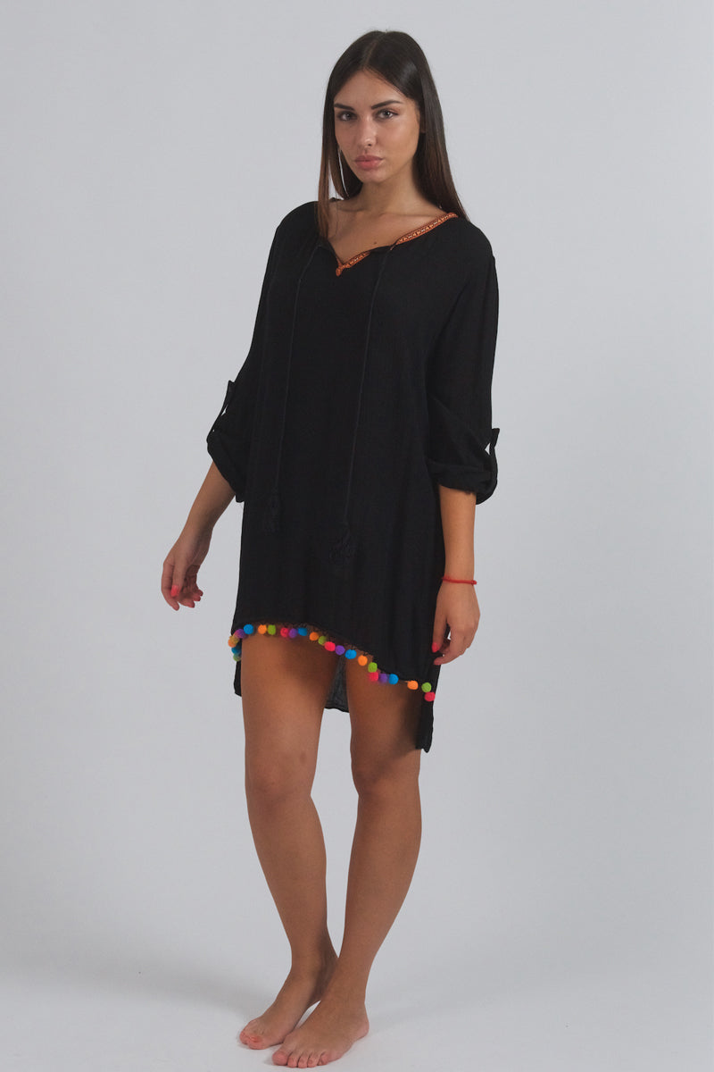 Black Tunic With Colorful Pompoms-Tops-Secret Closet