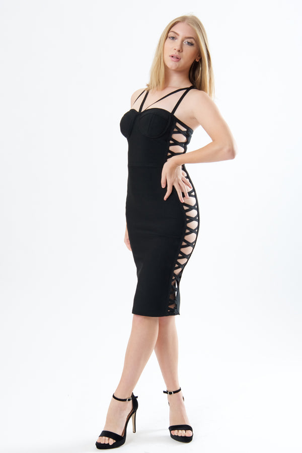 Woven Side Detail Bandage Dress-Dresses-Secret Closet