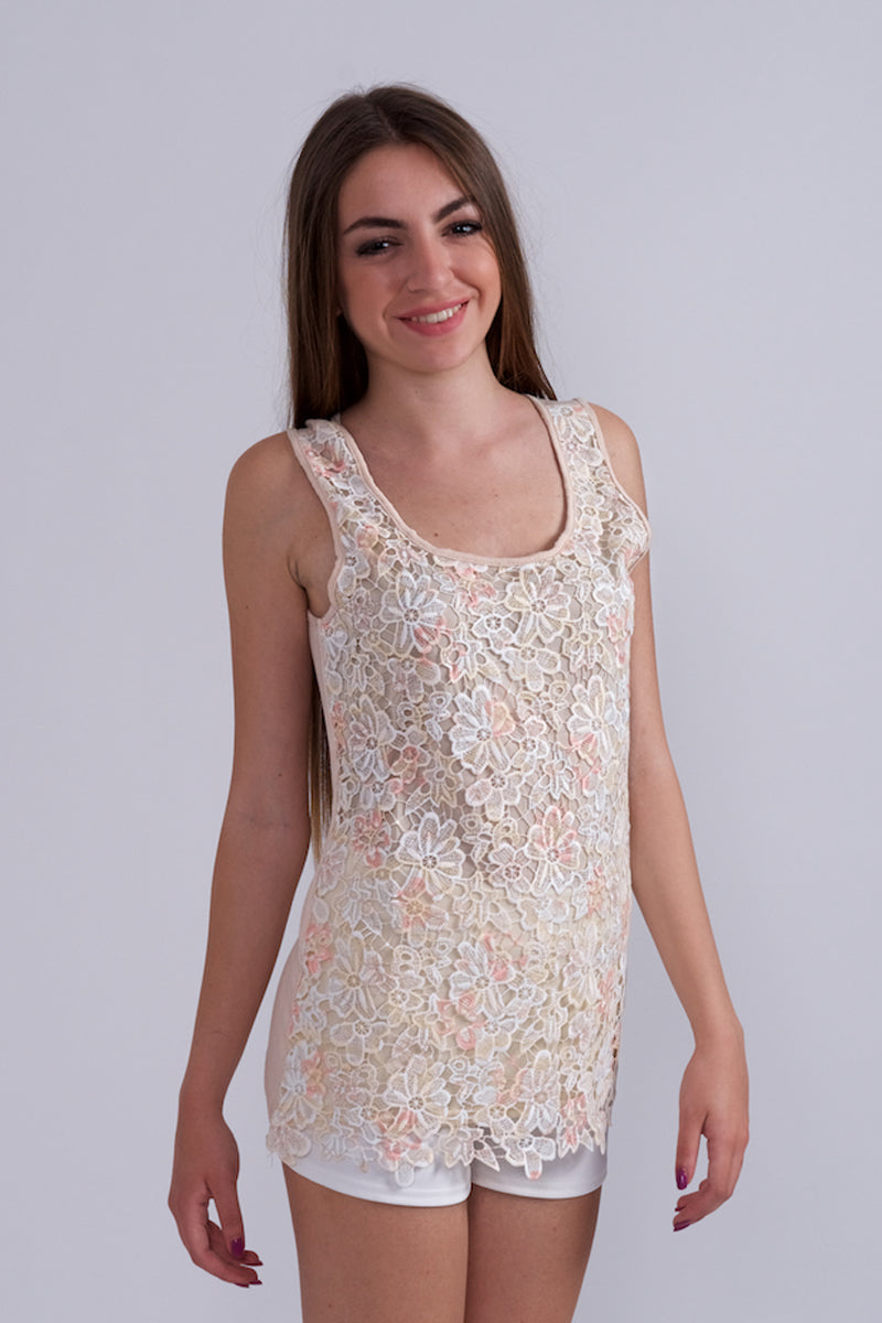 Top With Lace Design-Tops-Secret Closet