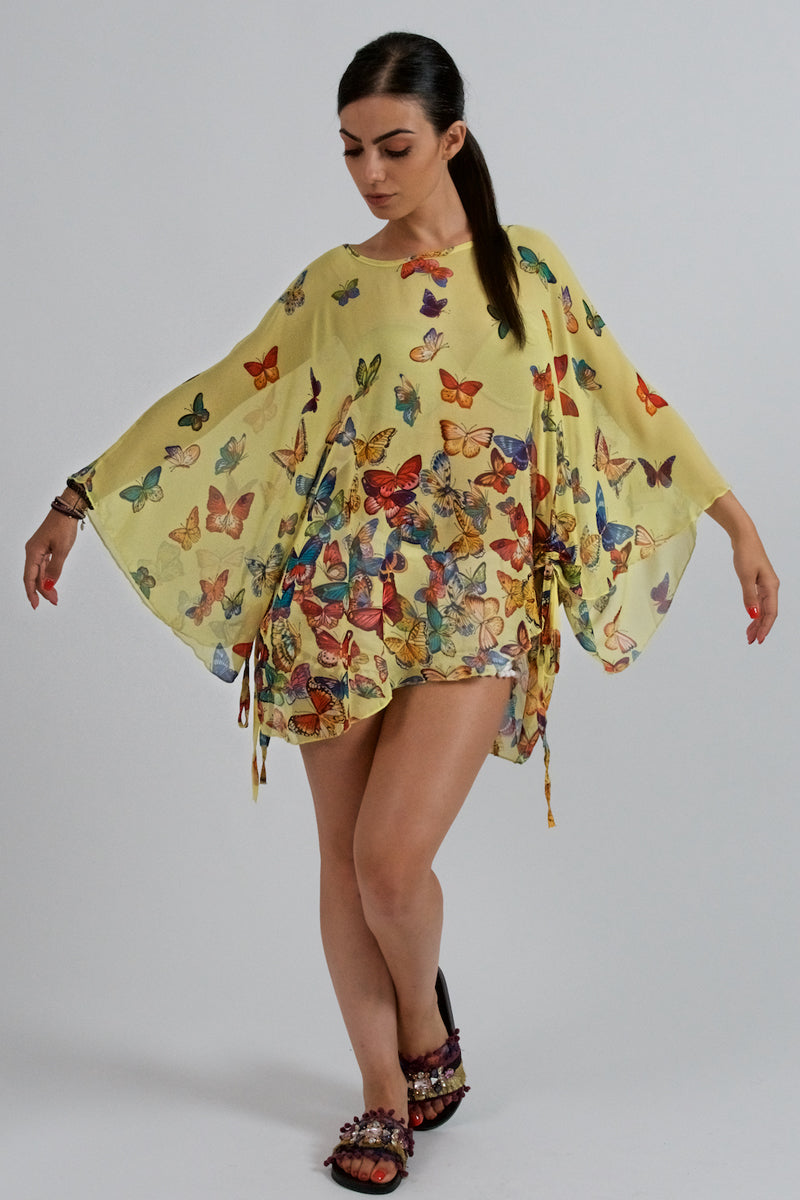 Yellow Blouse With Colorful Butterfly Print-Tops-Secret Closet