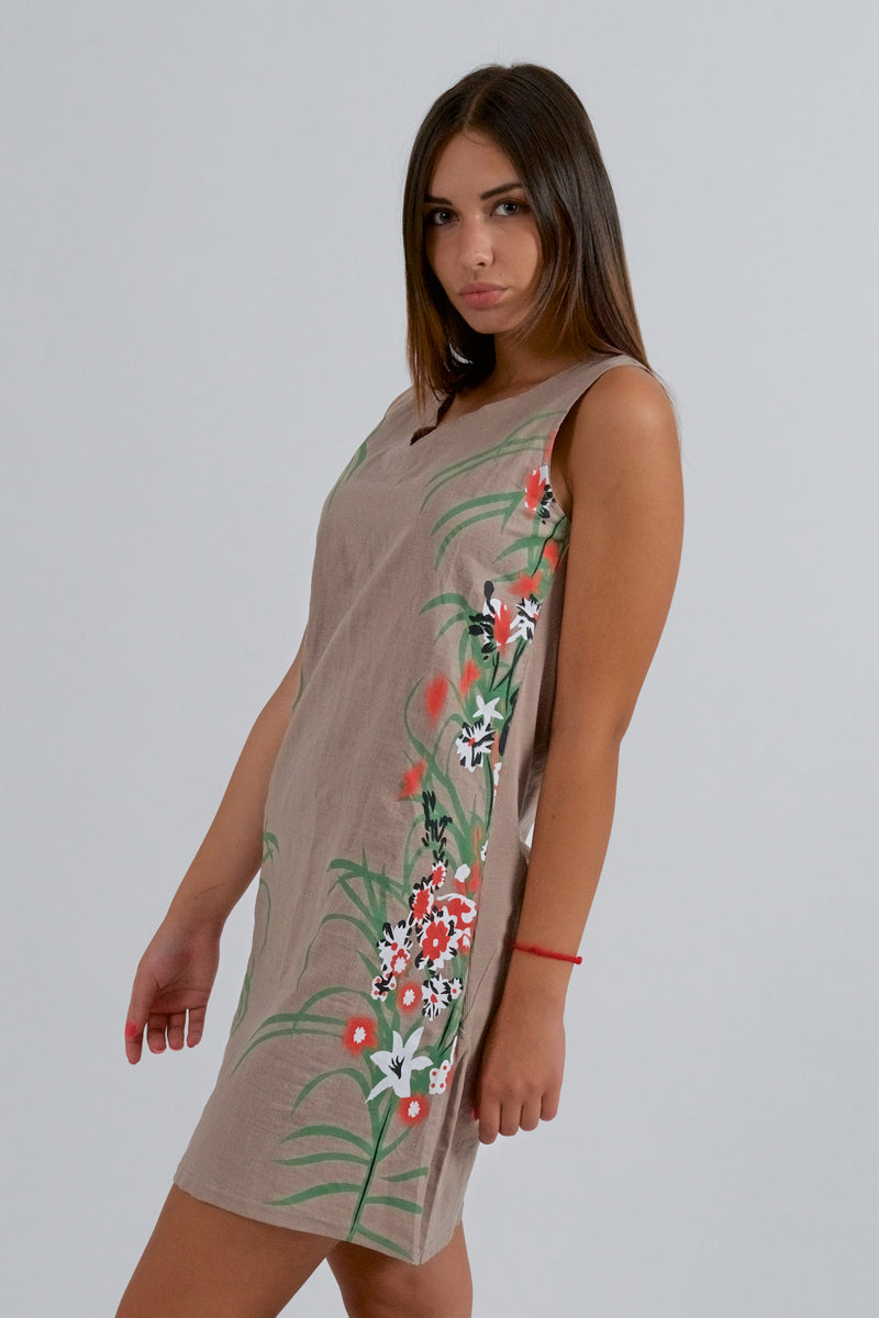 Khaki Linen Dress With Floral Print-Dresses-Secret Closet