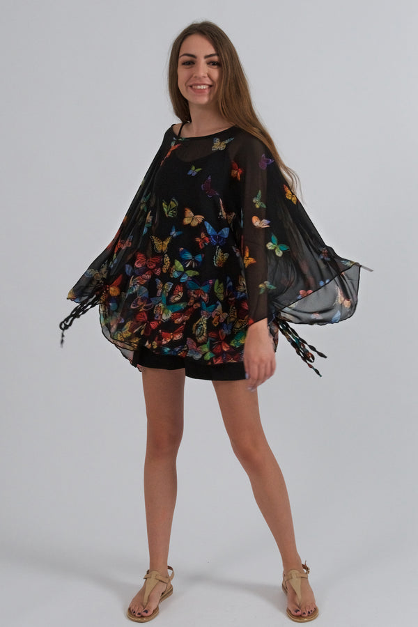Black Blouse With Colorful Butterfly Print-Tops-Secret Closet