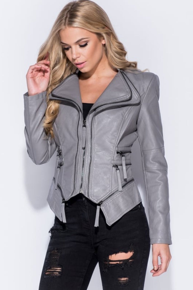 Leather Look Zip Detail Biker Jacket-Coat Cardigan-Secret Closet