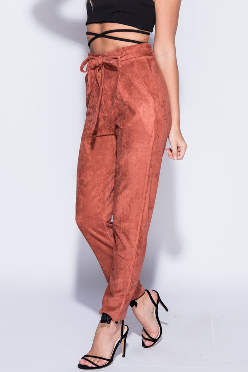 Suedette Paper Bag Waist Trouser-Pants-Secret Closet