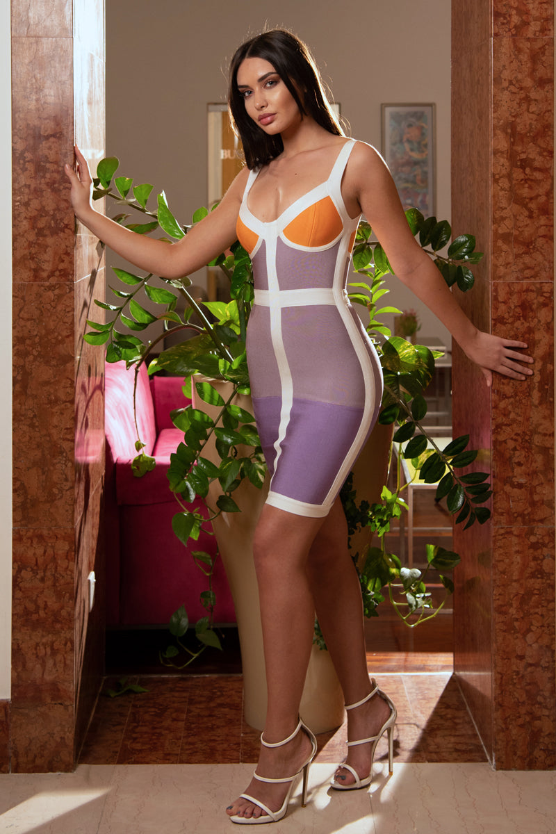Colorblock Bandage Dress-Dress-Secret Closet
