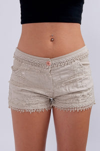 Shorts With Lace Design-Pants-Secret Closet