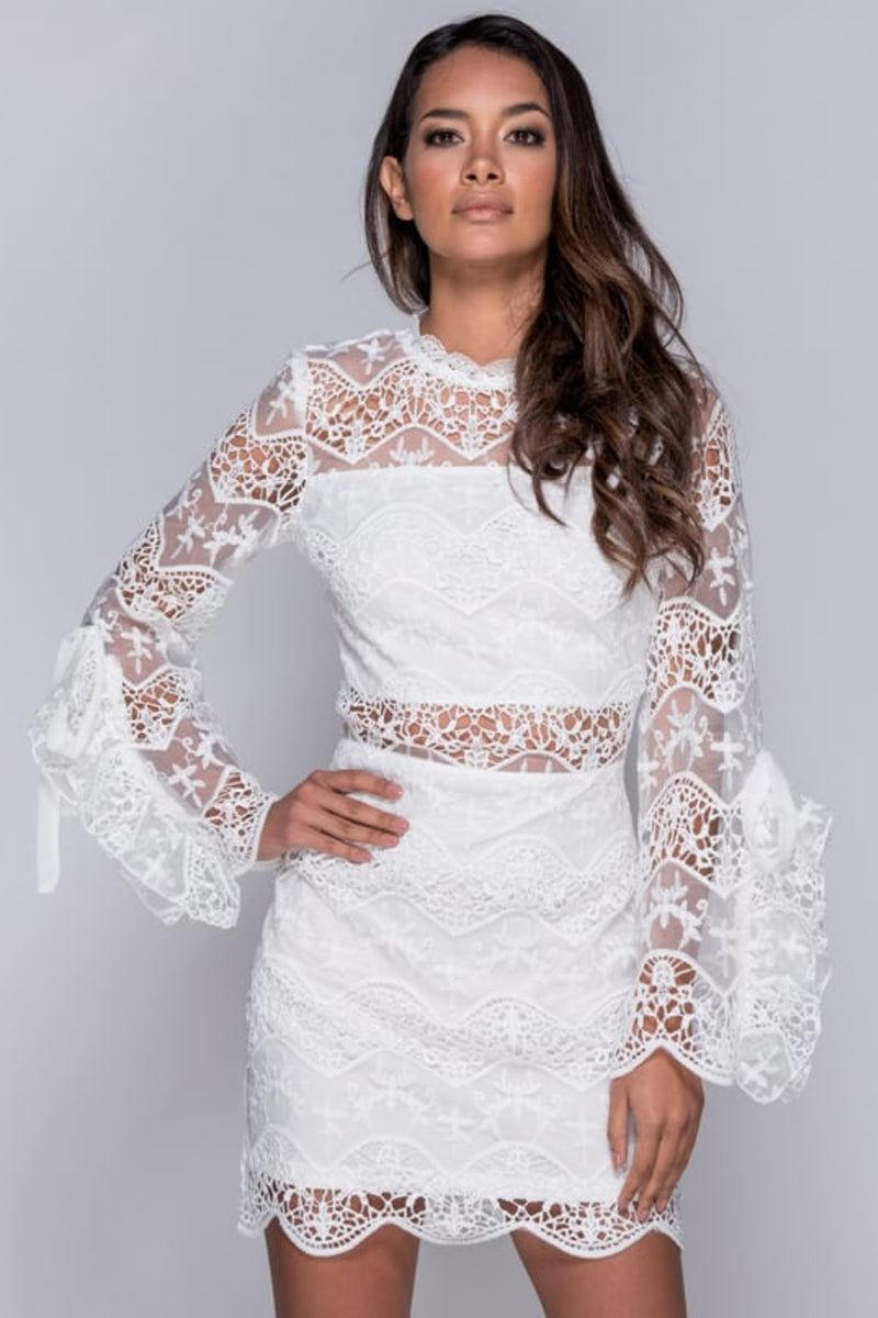 Lace Tie Sleeve Bodycon Dress-Dresses-Secret Closet
