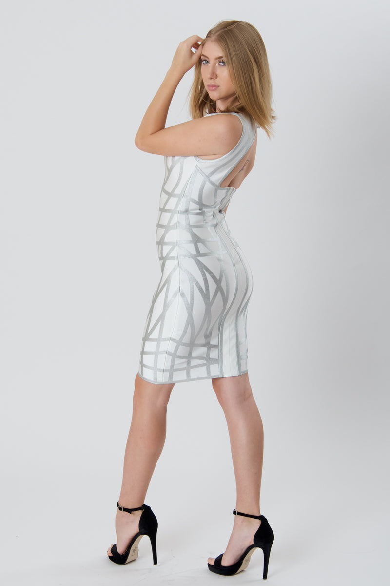 Silver With White Cut Out Bandage Dress-Dresses-Secret Closet