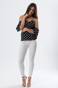 Black Polka Dot Bardot Top-Tops-Secret Closet