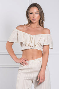 Ruffled Crop Top-Tops-Secret Closet