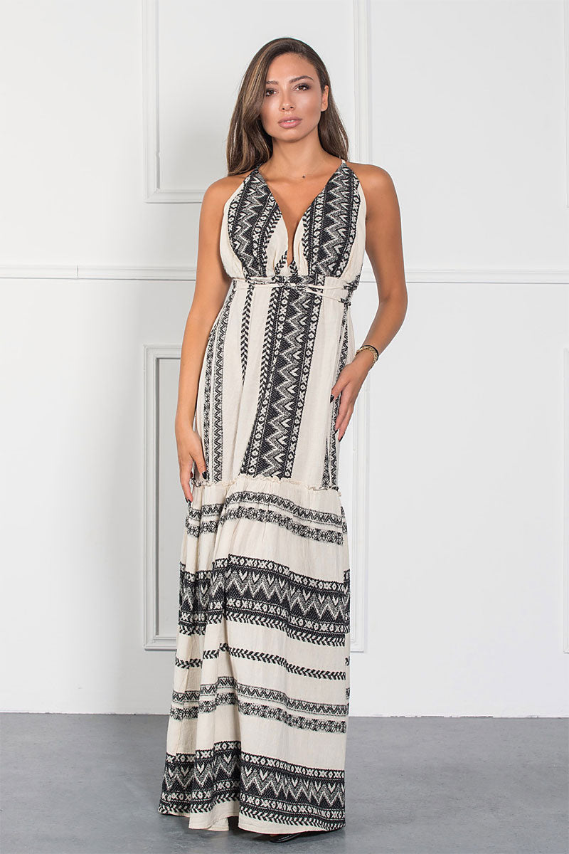 Deep V Backless Maxi Boho Dress-Dress-Secret Closet