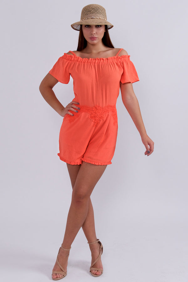 Bright Coral Romper-Jumpsuits-Secret Closet