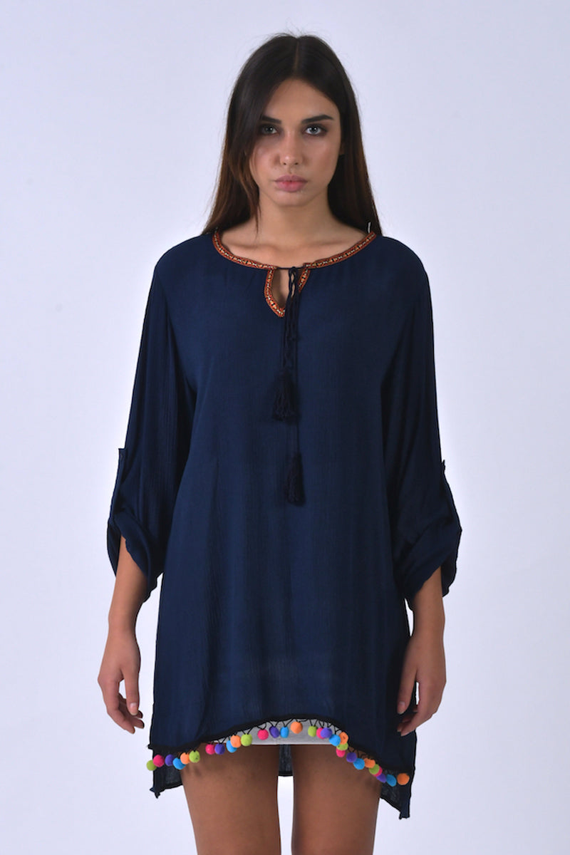 Navy Blue Tunic With Colorful Pompoms-Tops-Secret Closet