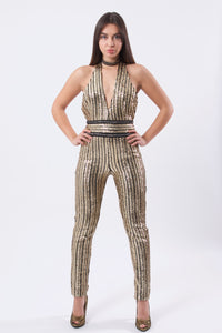 Halter Backless Sequin Jumpsuit-Jumpsuits-Secret Closet