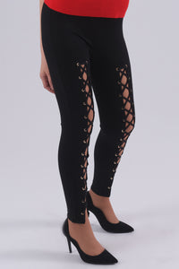 Leggings With Lace Up Detail-Pants-Secret Closet