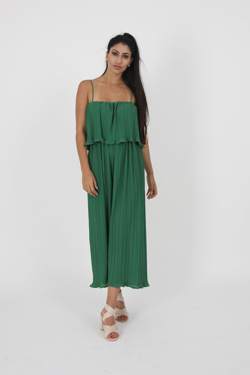 Pleated Culotte Jumpsuit-Jumpsuits-Secret Closet