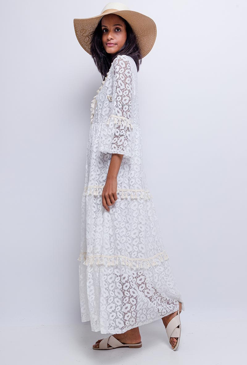 Boho Lace Maxi Dress-Dress-Secret Closet