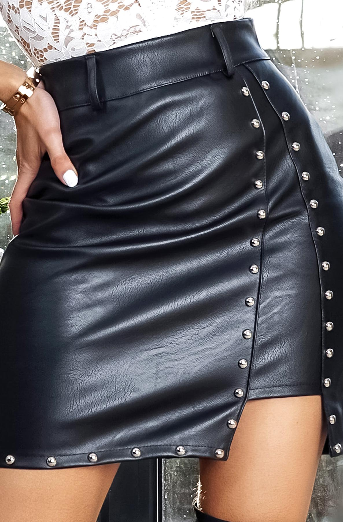 Studded Leatherette Mini Skirt-Skirt-Secret Closet