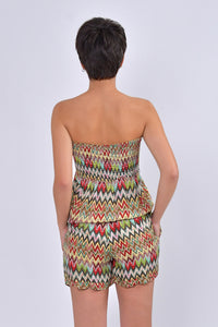 Playsuit With Multicolor Corrugated Pattern-Playsuit-Secret Closet