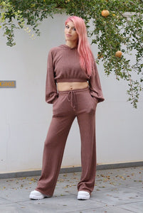 Rib Lounge Wide Leg Trousers-Pants-Secret Closet