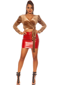 Leather Look Mini Skirt-Skirts-Secret Closet