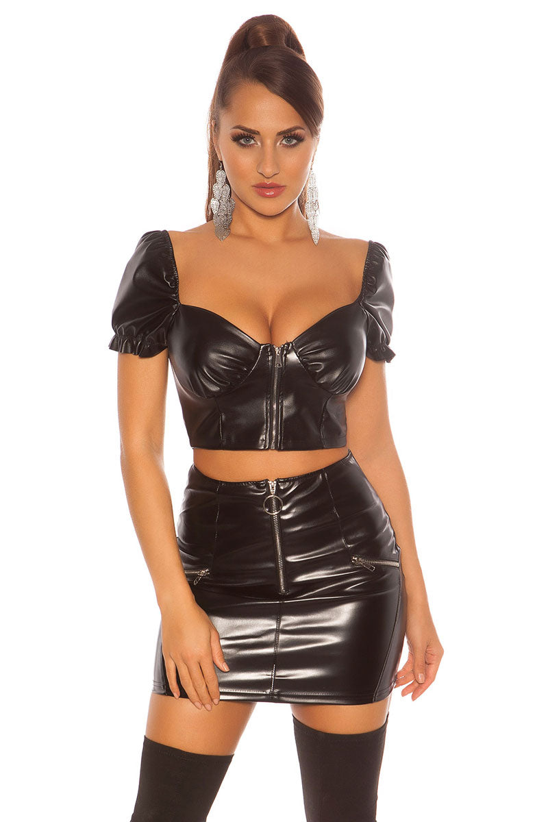 Faux Leather Zip Front Crop Top-Tops-Secret Closet
