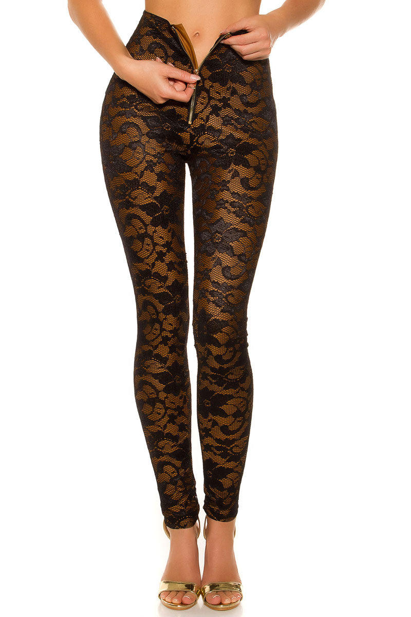 Floral Pattern Lace Leggings-Pants-Secret Closet