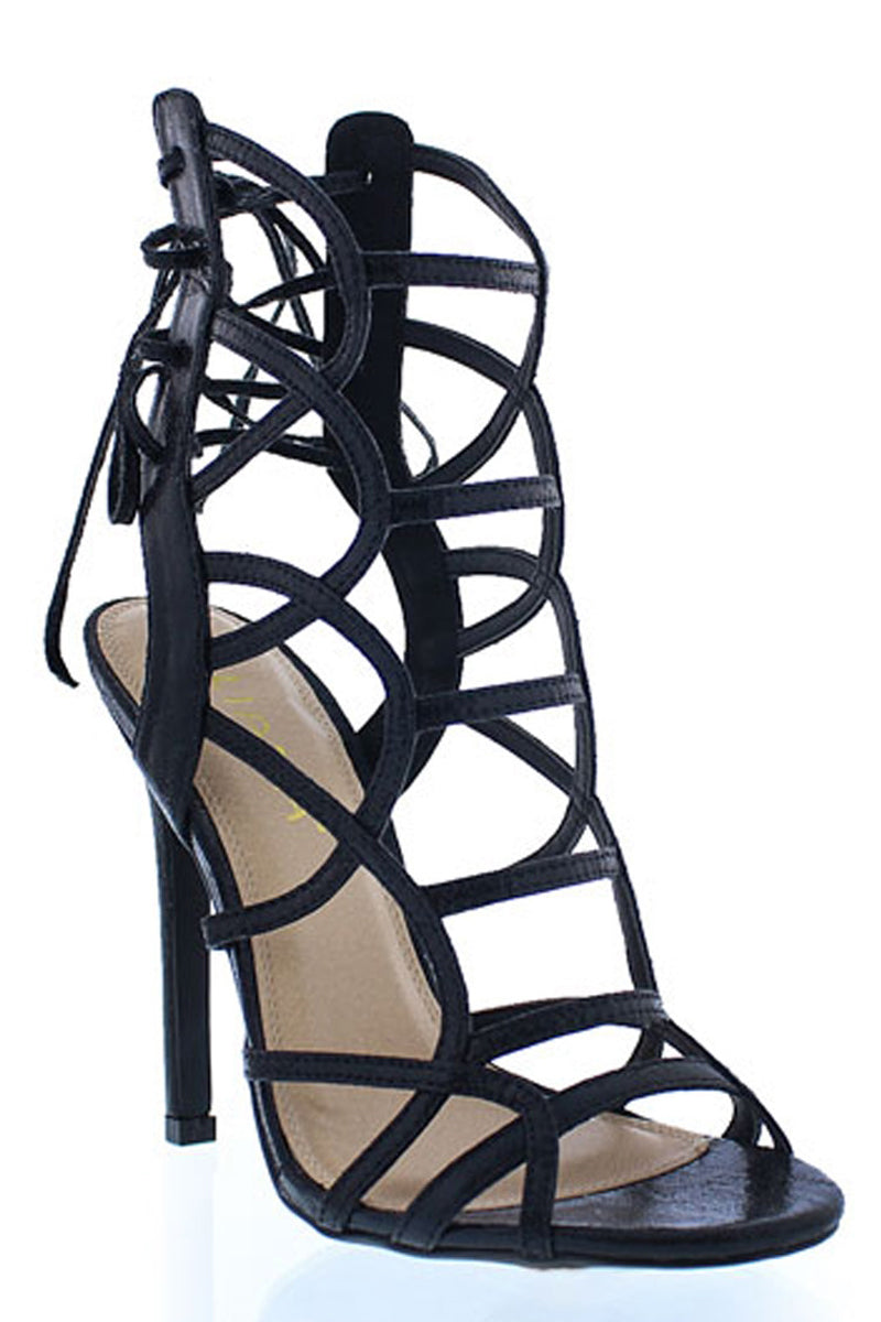 Striped High Heel Sandals-Shoes-Secret Closet