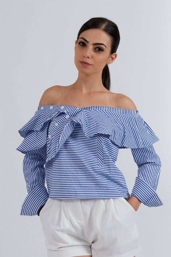 Long Sleeve Blue White Strips Blouse-Tops-Secret Closet