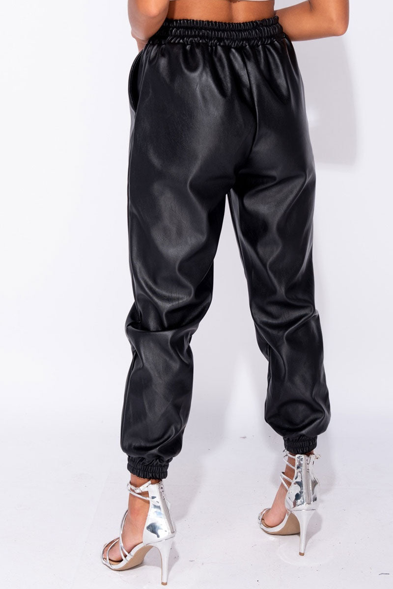 PU Hem Jogging Trousers-Pants-Secret Closet