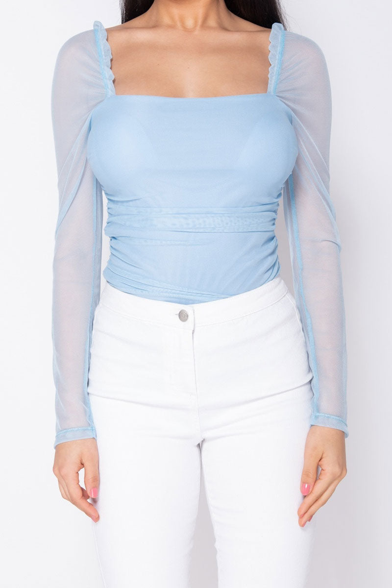 Sheer Ruching Detail Bodysuit-Tops-Secret Closet