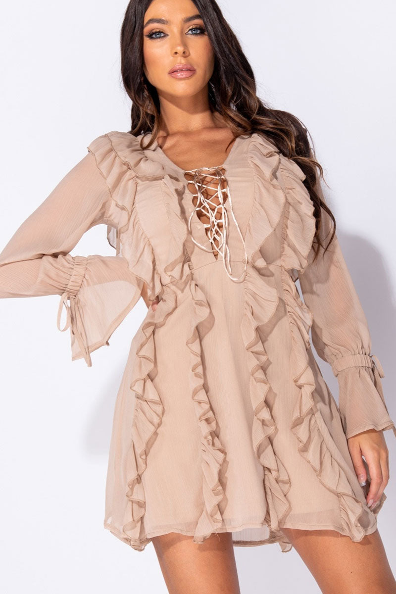 Multi Ruffle Lace Up Front Long Sleeve Mini Dress-Dress-Secret Closet