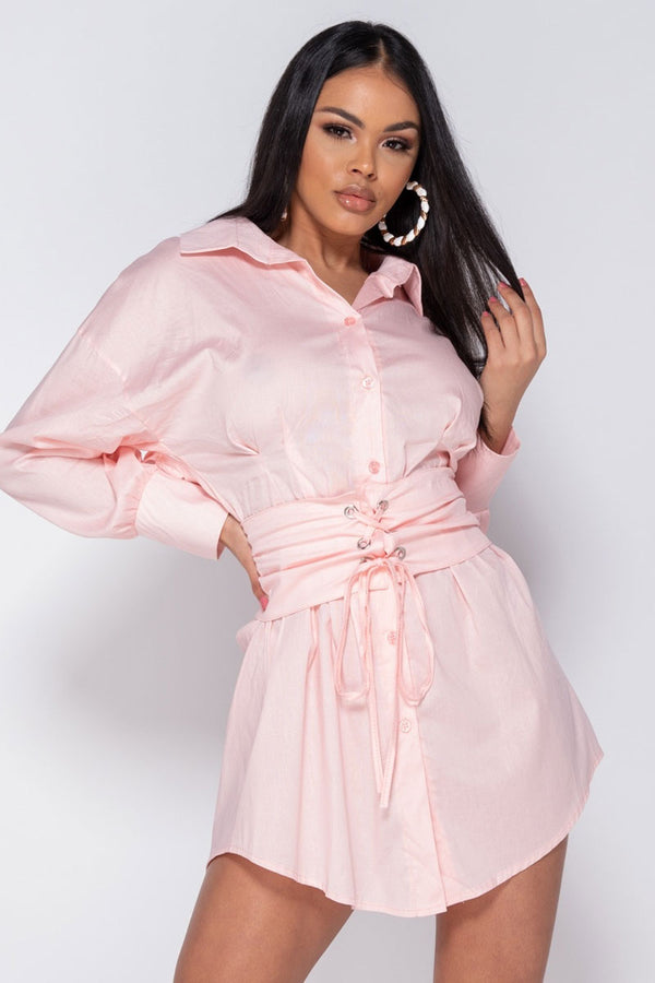 Shirt Dress With Eyelet Lace Up Belt-Dress-Secret Closet