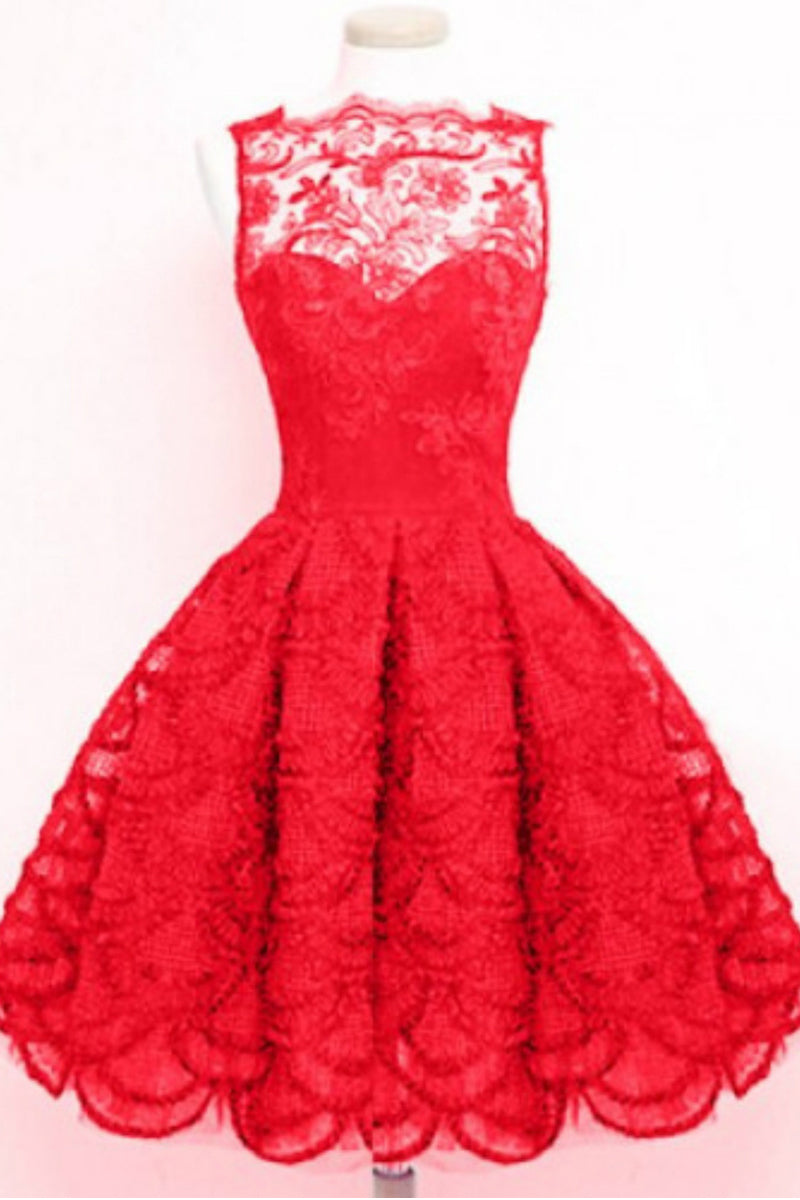 Non-Sleeve Lace Skater Dress-Dresses-Secret Closet