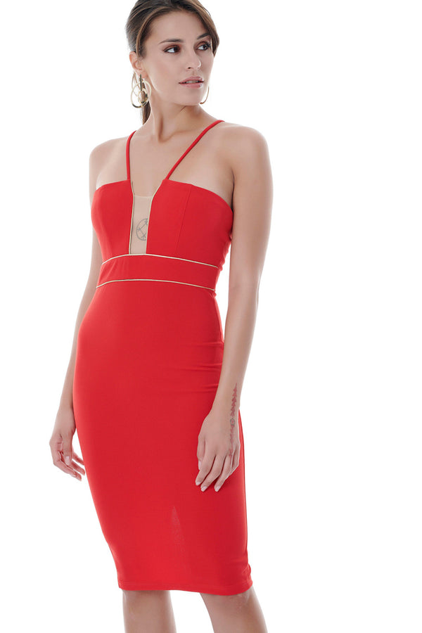 Classy and Sexy Red Bodycon Dress-Dresses-Secret Closet