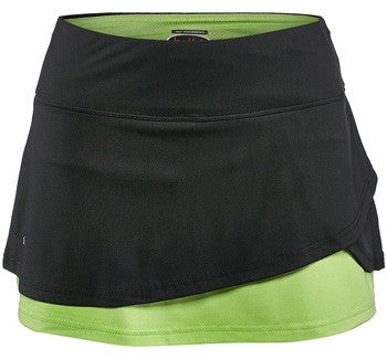 Bolle Ladies Tennis - Women's Twist of Lime Overlay Tennis Skirt (Black) - mytennisstore.com