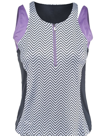 Bolle ~  Lavender Fields Double Strap Zip Tank