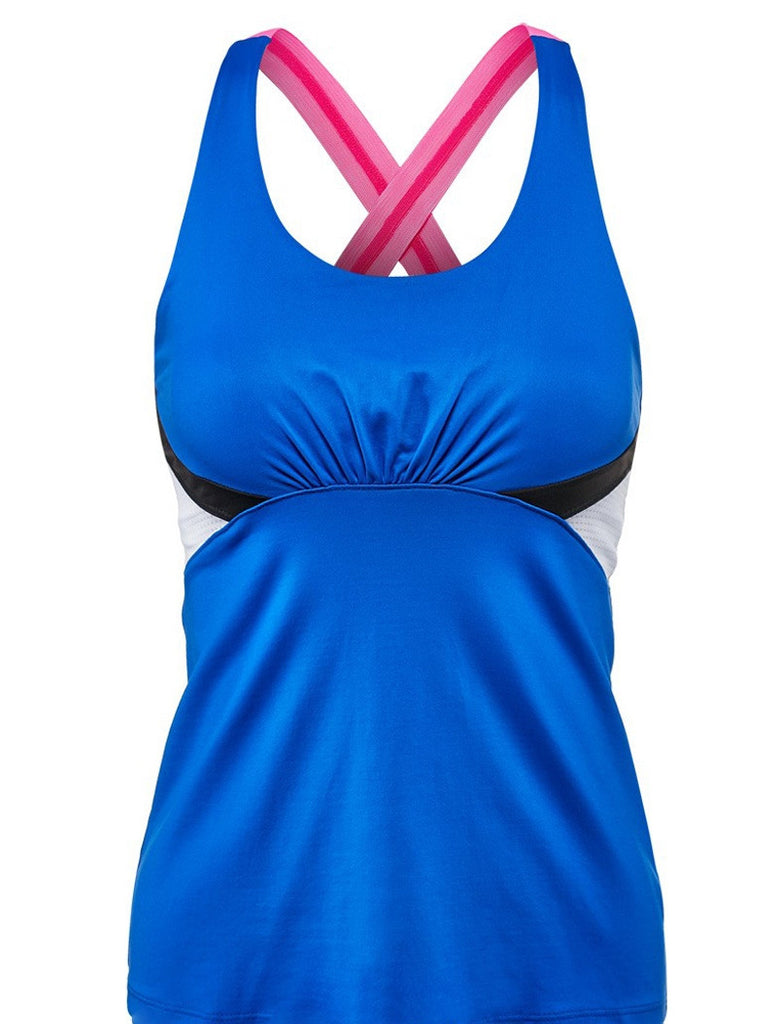 Lucky in Love Ladies Tennis Sapphire Kaleidoscope Colorblock Cami