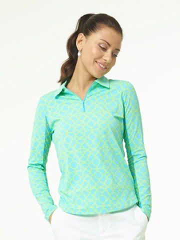 Icikuls ~ Mock Neck Long Sleeve Cooling Sun Shirt - Bamboo (Turquoise & Lime)