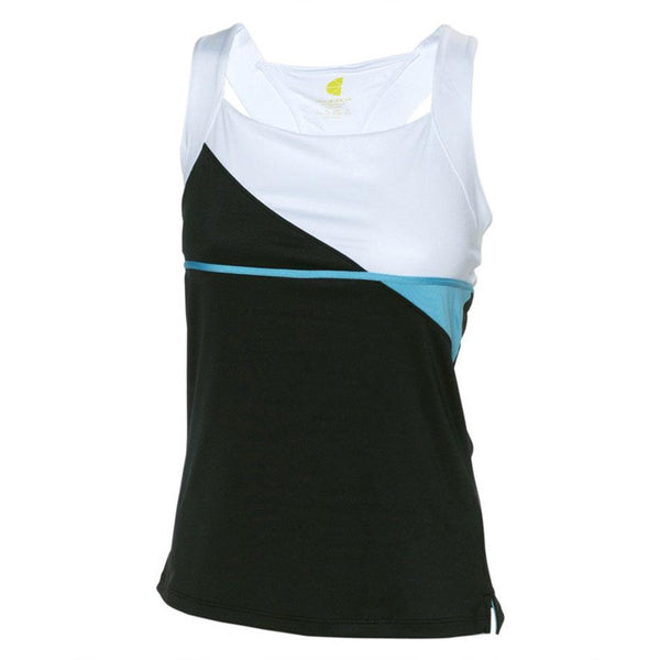 Pure Lime black cami with white accent and bright blue stripe