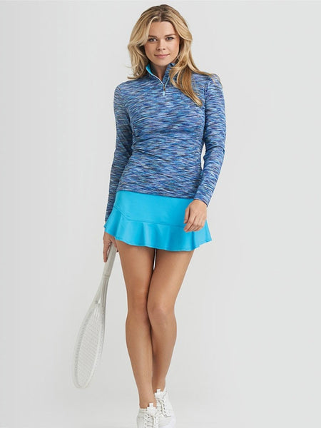Tail - Playful Blues Quarter Zip Long Sleeve Pullover