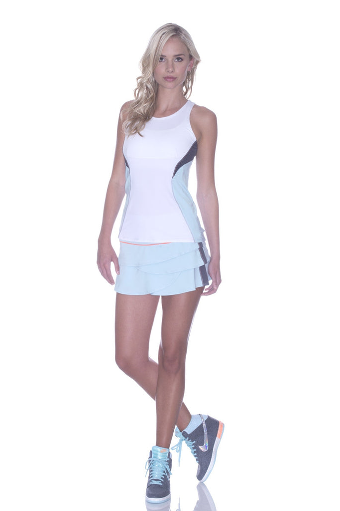 Lucky in Love High Neck Tank in Frost/White - mytennisstore.com